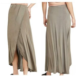 NWT Free people maxi skirt green army